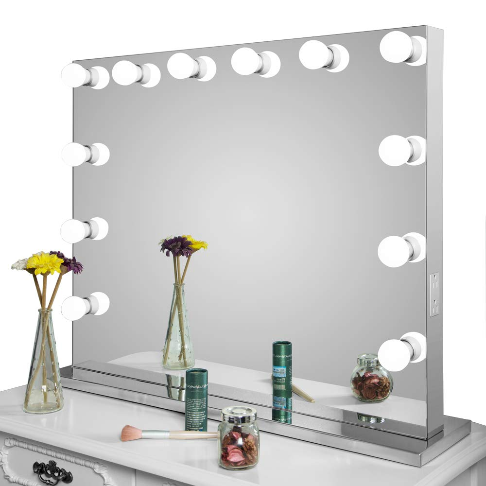 HOMELO Frameless Vanity Mirror with Light Hollywood Makeup Lighted Mirror with Dimmer Free Bulbs Gift (Large)