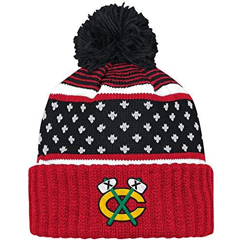 Chicago Blackhawks Black The Highland Alternate Logo Cuffed Pom Knit Beanie Hat / Cap