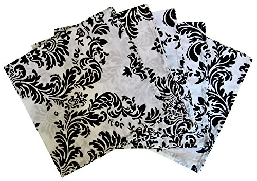 Goldstream Point 5 Pack Damask Flocking Napkins 20 x 20 Inches Black and White