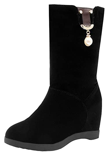 Women's Comfy Faux Suede Pendant Round Toe Invisible High Wedge Heel Pull on Mid Calf Boots