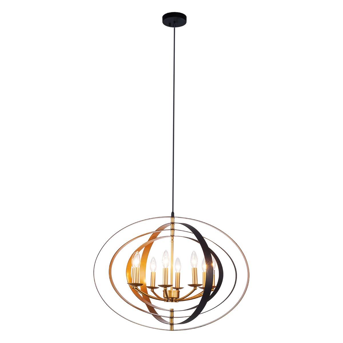 Lanros Industrial Sphere Foyer Lighting, 8-Light Vintage Adjustable Globe Chandelier with Pivoting Interlocking Rings for Dining Room, Entry, Living Room, Stairwell, Bathroom, Restaurant, Black/Gold+