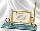 Personalized Poetry Graduation Gift from Parents to College High School Graduate Mini Desk Table Clock Genuine Marble Base Brass Pen Set School Congratulation Present