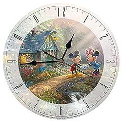 Disney Mickey and Minnie Sweetheart Bridge Glass 12 IN Clock by Thomas Kinkade