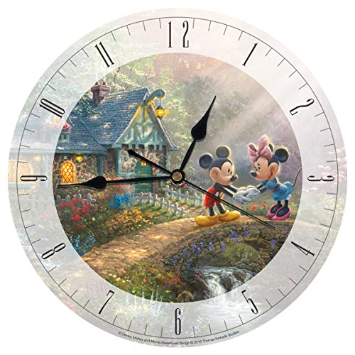 Disney Clock (Disney Mickey and Minnie Sweetheart Bridge Glass 12 IN Clock by Thomas Kinkade)