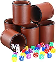 6 Pieces Dice Cup PU Leather Felt Lining Quiet Shaker with 30 Dices for Craps Farkle Game