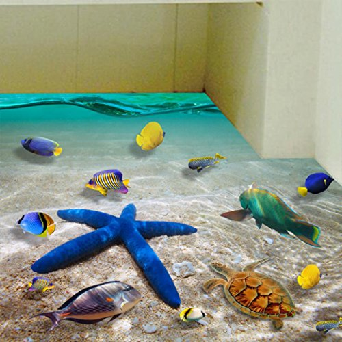 Anshinto 3D Beach Floor/Wall Sticker Removable Mural Decals Modern Vinyl Art Living Room Decors - Designs Mural
