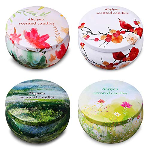 Fig Cable - Ahyiyou Scented Candles, 100% Soy Wax Tin Candles, Natural Fragrance Candles for Stress Relief and Aromatherapy - 4 Pack Gift Set (Vanilla, Rose, Grapefruit, Mediterranean Fig)