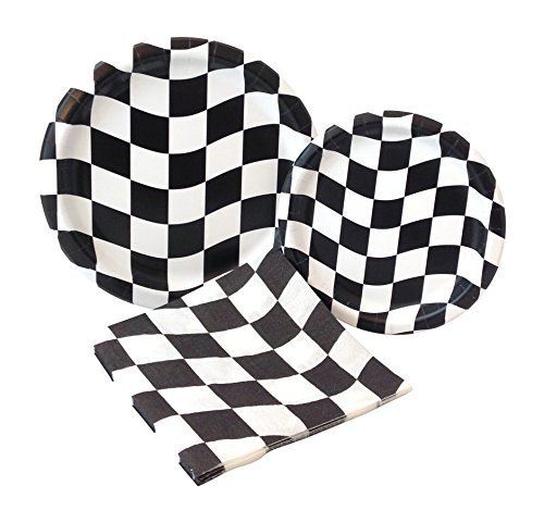 Black and White Check Racing Party Supply Pack! Bundle Includes Paper Plates & Napkins for 8 Guests -