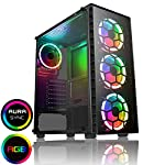 CiT-Raider-PC-Gaming-Case-Mid-Tower-ATX-Halo-Dual-Ring-Spectrum-Fans-RGB-PCB-Hub-w-Aura-Connectivity-RF-Controller-MB-Sync-Tempered-Glass-For-a-Great-Gaming-Experience-Black