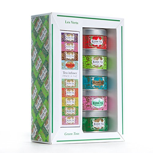 (Kusmi Tea Green Tea Sampler Set With Infuser - Discover Multiple Unique Green Tea Blends From Strawberry Sweetness to Refreshing Spearmint Taste (5 Tins))