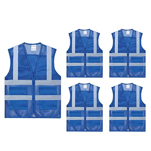TOPTIE Pack of 5 Wholesale Unisex Volunteer Vest Safety Reflective Running Cycling Vest with Pockets-Blue-L
