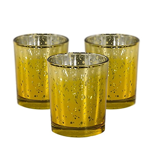 Candles4Less - Mercury Glass Votive Candle Holders, Perfect for Home decoration, events and weddings (72, Gold)