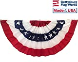 3×6′ Pleated Fan Bunting 5 Stripes w/Stars, Patriotic Semi Circle, Made in USA For Sale