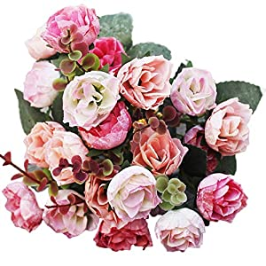 Colorido Artificial Flower Rose Fake Desk Bonsai Indoor Flower for Home Office Party Decor Wedding Arrangement 49