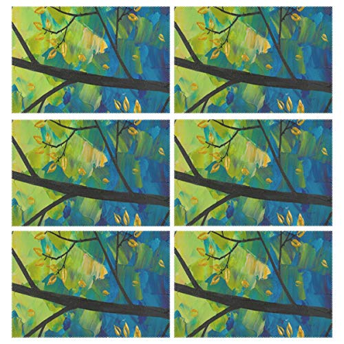 Cocoa trade Heat Resistant Placemats for Kitchen Table Mats Dining Room,Sunset and Love Birdssold Paintings Washable Insulation Non Slip Placemat 12x18 inch(6 pcs)