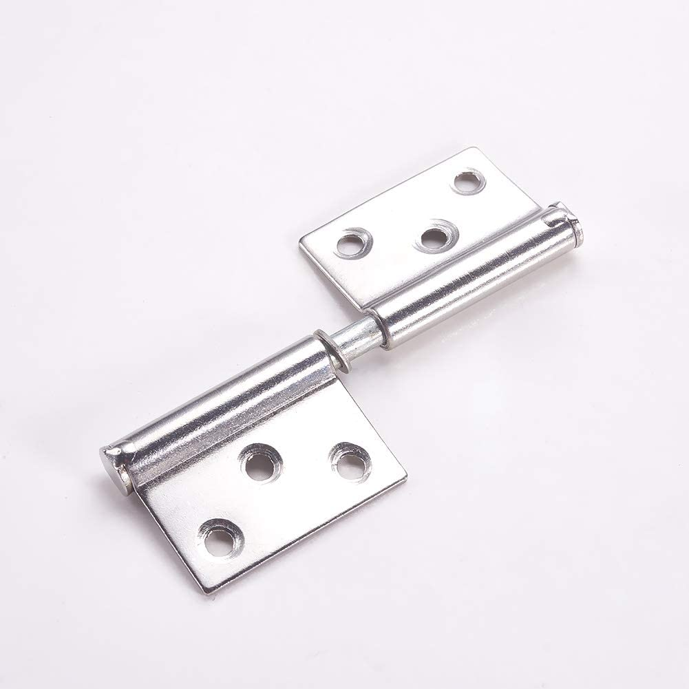 MroMax Hinges Hardware 63x17x1.1mm Cabinet Box Mini Window Metal Butt Hinges Stainless Steel for Furniture Drawer Door Cabinet Cupboard Wardrobe Dresser Decoration Silver Tone 4Pcs
