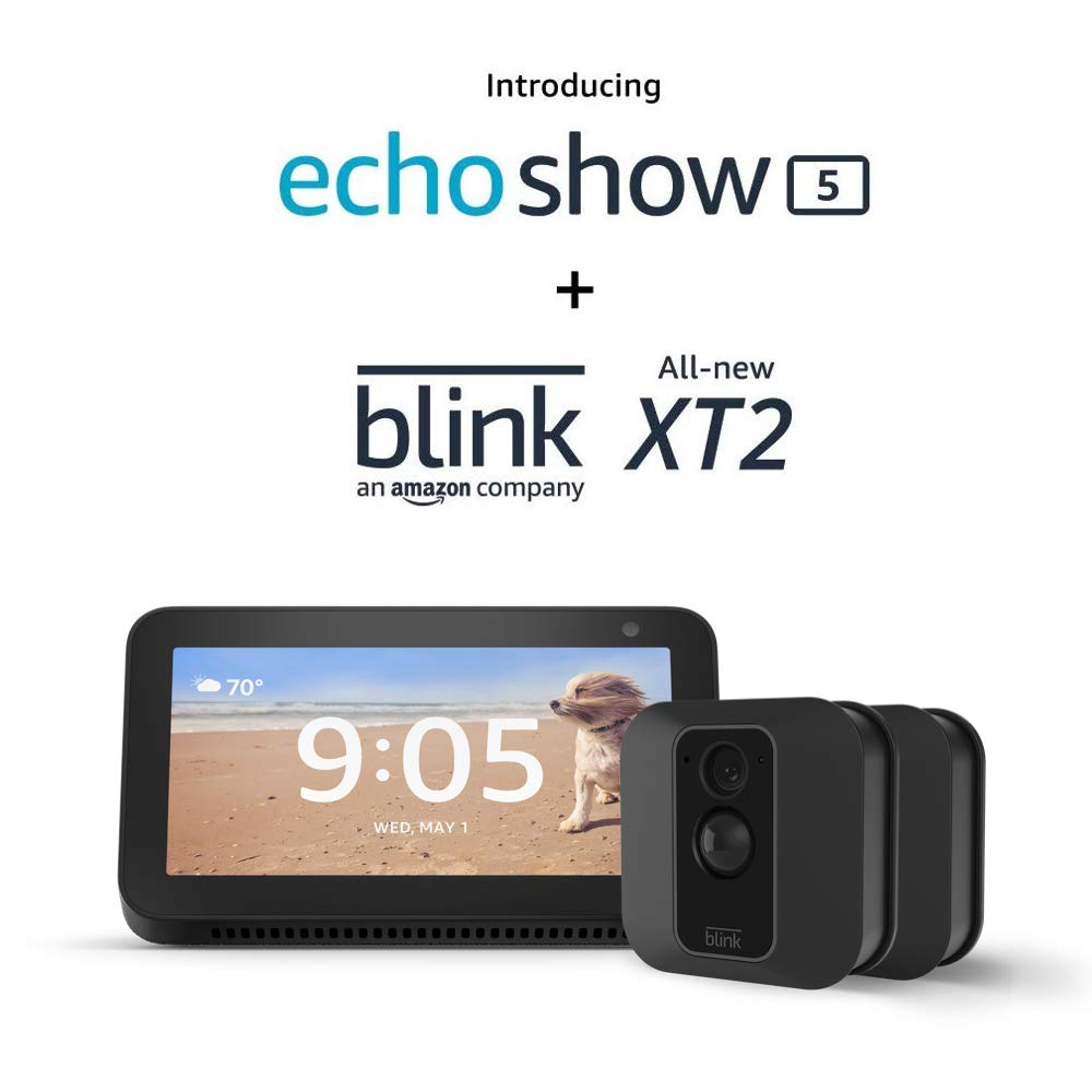 Echo Show 5 (Charcoal) with Blink XT2 Outdoor/Indoor Smart Security Camera - 2 camera kit
