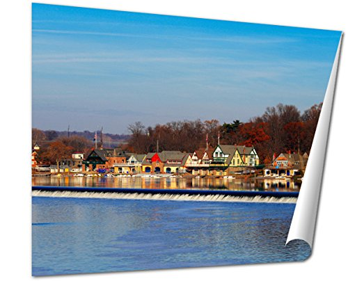 Ashley Giclee The Famed Philadelphias Boathouse Row In Fairmount Dam Fishway wall art poster print for bedroom, ready to frame, 16x20 Print