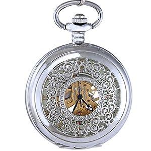 Ogle Mens Women Child Pattern Chain Roman Skeleton Hand Wind Mechanical Fob Pocket Watch Box
