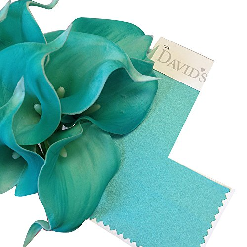 Angel Isabella 10pc Set Real Touch Calla Lily-Keepsake Artificial Flower Perfect for Cut to Make Boutonniere Corsage Bouquets(Spa(Aqua))