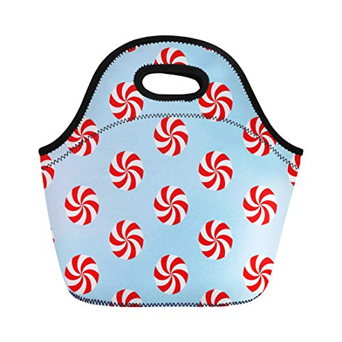 Semtomn Lunch Tote Bag Christmas Peppermints Candy Pattern Red and White Swirls Reusable Neoprene Insulated Thermal Outdoor Picnic Lunchbox for Men Women