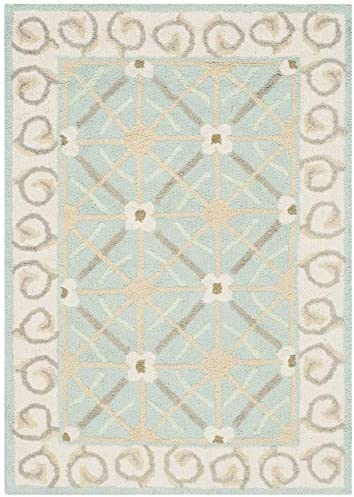 Safavieh Newport Collection NPT443D Hand-Hooked Aquamarine and Beige Cotton Area Rug 2 x 3