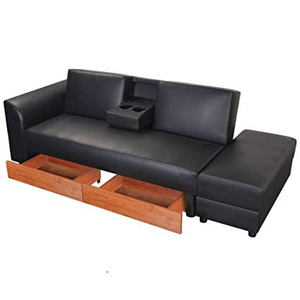 Super Amazon Com Sofa Bed W Drawers And Ottoman Black Inzonedesignstudio Interior Chair Design Inzonedesignstudiocom