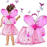Princess Glittering Costume - Toy Cubby Little Fairy Pink Butterfly Costume Set with Tutu Skirt - Dance in Beauty!