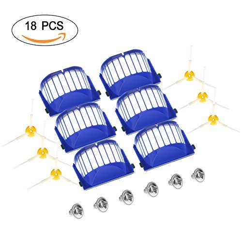 GHB Parts for iRobot Roomba 595 620 630 645 650 655 660 Replenishment Kit 18Pcs 600 Series Replacement Brushes Kit Brush Replacement Kit