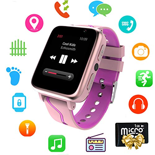 (Kids Smart Watch Music - MP3 Music Player Wrist Watch Phone for Boys Girls Touch Screen LBS Tracker Pedometer FM Bluetooth SOS Remote Monitor Camera Class Mode[1GB Micro SD Included])