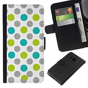 For HTC One M7 Case , Dot Green Silver Sparkle White Glitter - la tarjeta de Crédito Slots PU Funda de cuero Monedero caso cubierta de piel