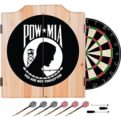 POW MIA Design Deluxe Solid Wood Cabinet Complete Dart Set by TMG