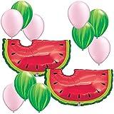"Watermelon Theme Decorations - 35"" Watermelon Balloons 12pc Assortment - Fiesta Birthday Party Foil Mylar Latex Balloon Bundl"