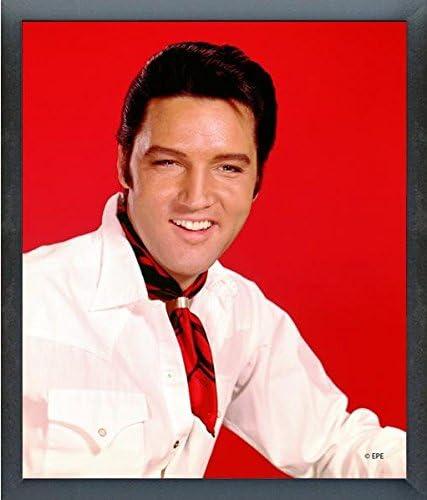 Elvis Presley con fondo rojo, foto (tamaño: 12