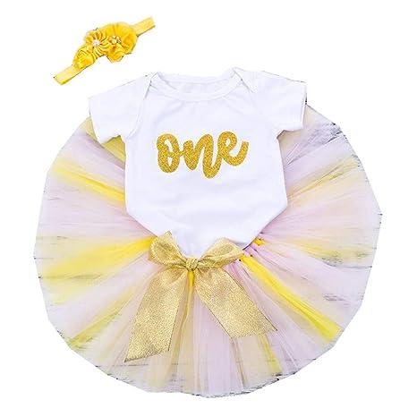 3 Piezas Bebé Niña Vestido Cumpleaños Primer Cumpleaños para ...