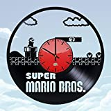 WhatsUp Store Super Mario Video Game Design Vinyl Record Wall Clock - Wonderful home room, garage wall art decoration - Fancy gift idea for his or her
