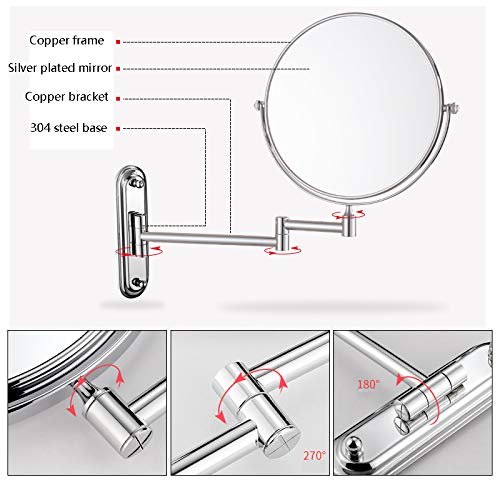 Makeup Mirror Folding Bathroom Wall-mounted Double-sided Vanity Mirror Toilet Wall Hanging Magnifying Beauty Mirror (Color : Stainless steel, Size : 6 inches) by Wall-mounted Folding Mirror (Image #3)