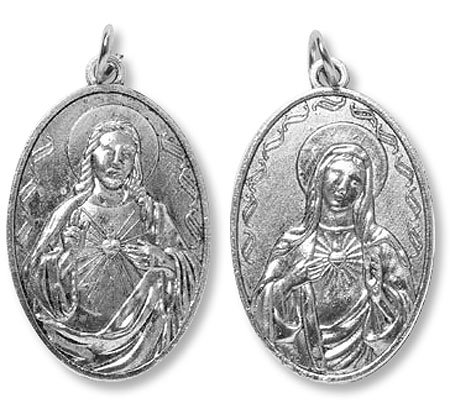 Divine Mercy Immaculate Heart Of Mary 2 Sided Zinc Alloy 1 3/4 Inch Devotional Medal