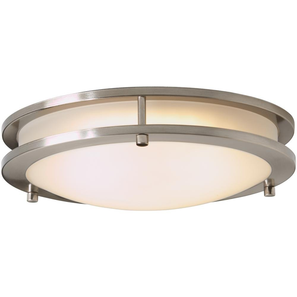 Hampton bay hb1023 35 brushed nickel led low profile flush mount with frosted white shade amazon com industrial scientific