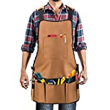 Work Aprons for Men and Women, HMMS Heavy Oxford Canvas Shop Apron with Pockets - Multiple Tool Pockets for Wood Working and Gardening - Adjustable Shoulder and Waist, Handicrafts, Cleaning
