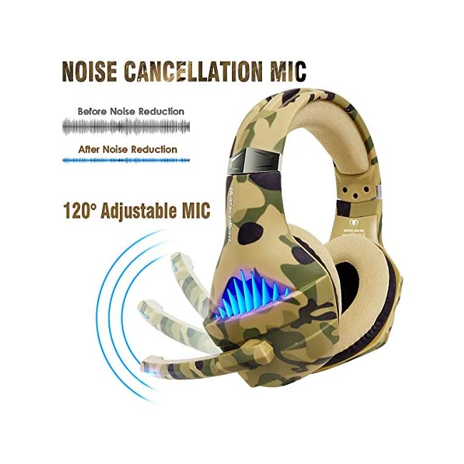 Gaming Headset for PS4 Xbox One PC  Beexcellent Deep Bass PS4 Headset with Noise Immunity Mic  LED Light  Friction-Reduction Cable  High Comfort Earmuff-Camo