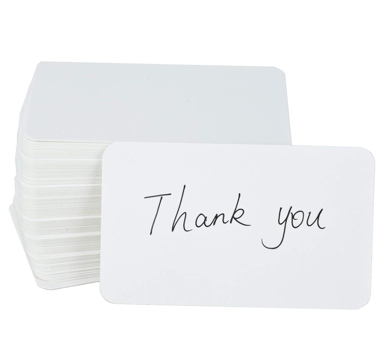 Fecedy 100pcs vuoto Kraft Business Cards Word carta messaggio di carta regalo DIY (bianco)