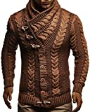 LEIF NELSON Men's Stylish Knit Sweater With Buttons | Warm Turtleneck Pullover | LN5570; Medium, Camel-Brown