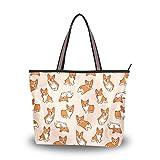 Cartoon Corgis Pattern Tote Bags Women's Stylish Travel Totes Fabric Zippered Tote for Shopping Handbag