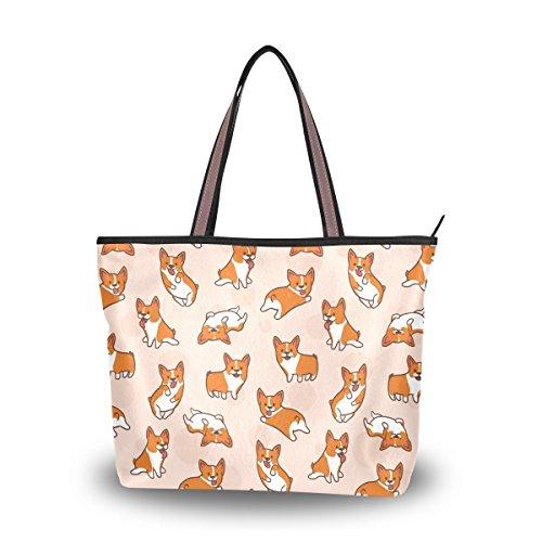 Cartoon Corgis Pattern Tote Bags Women's Stylish Travel Totes Fabric Zippered Tote for Shopping Handbag by Juilyu (Image #7)