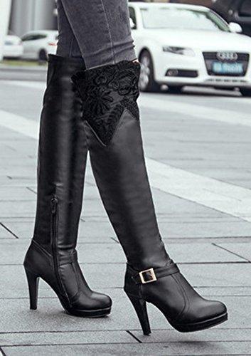 Aisun Femmes Lacets Unique Boucle Sangle Amande Orteil Robe Plate-forme Latérale Zip Haut Talon Sur Les Bottes Au Genou Noir