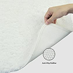 "SENDAMALL 24""X16"" Cozy Microfiber Bath Mat Anti-Slip Rubber Bathroom Bedroom Livingroom Rugs Luxury Machine Washable Non Slip Carpet"