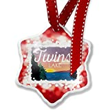 Christmas Ornament Lake retro design Twin Lakes, red - Neonblond