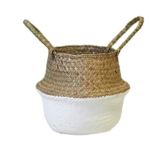 Yeefant Seagrass Wicker Flower Pot Folding Dirty Basket Woven Flowerpot Multiuse Arts and Crafts Makeup Stationary BathWhite