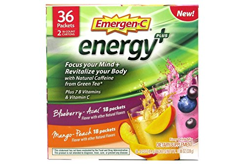 Alacer Flavored Vitamins - Emergen-C Energy+ Supplement Drink Mix with Caffeine, Blueberry-Acai, Mango-Peach, Variety Box, 36 Count - Focus Your Mind & REVITALIZE Your Body*